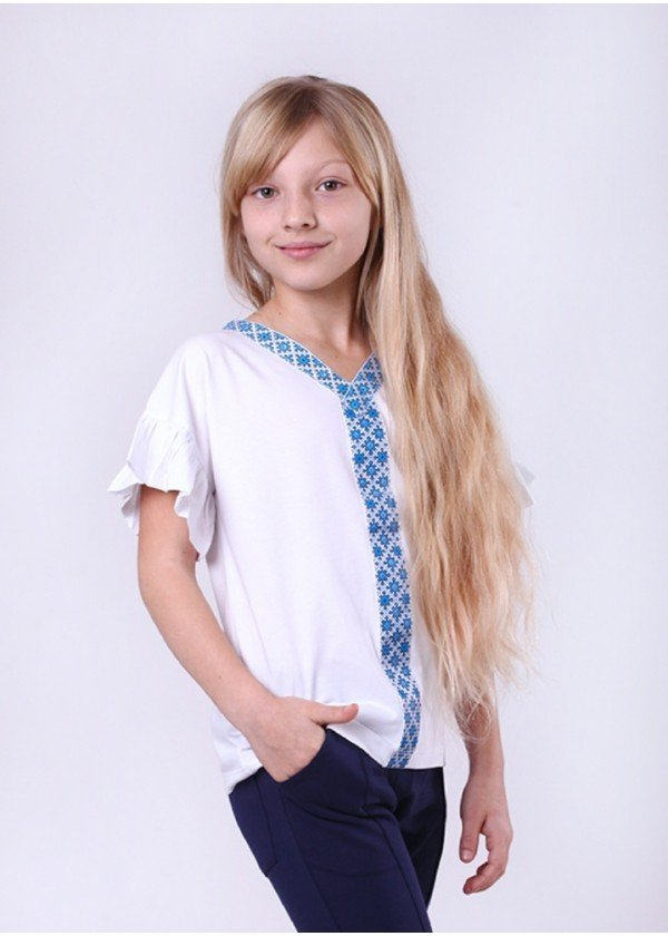 Кофта для дівчаток - G-19903W_белый с голубым