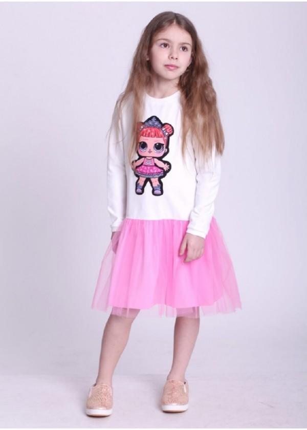 Сукня для дівчаток - G-19817W-2_молочный с розовым