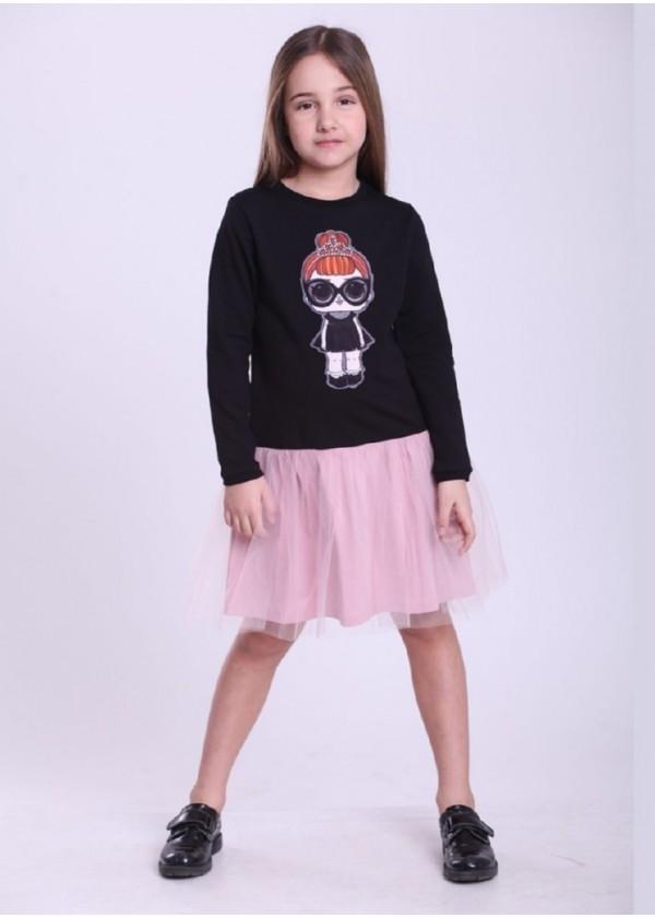 Платье для девочек - G-19819W-2_черный с пудрой