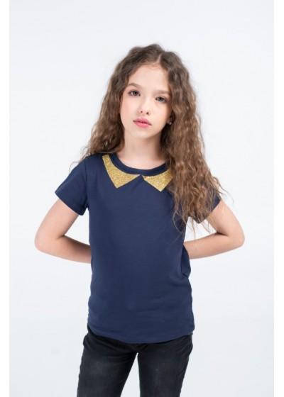 Футболка для девочек - G-20915S_синий+золото
