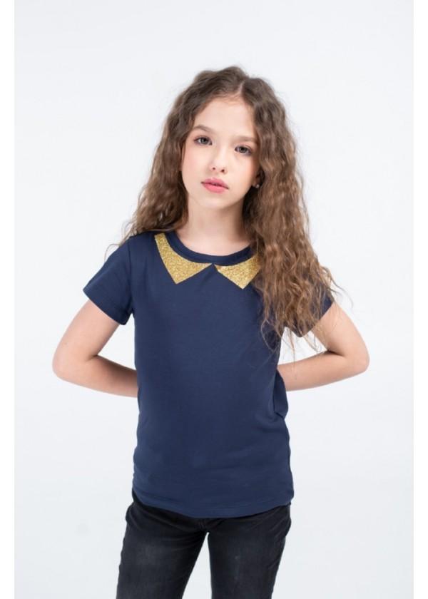 Футболка для дівчаток - G-20915S_синий+золото
