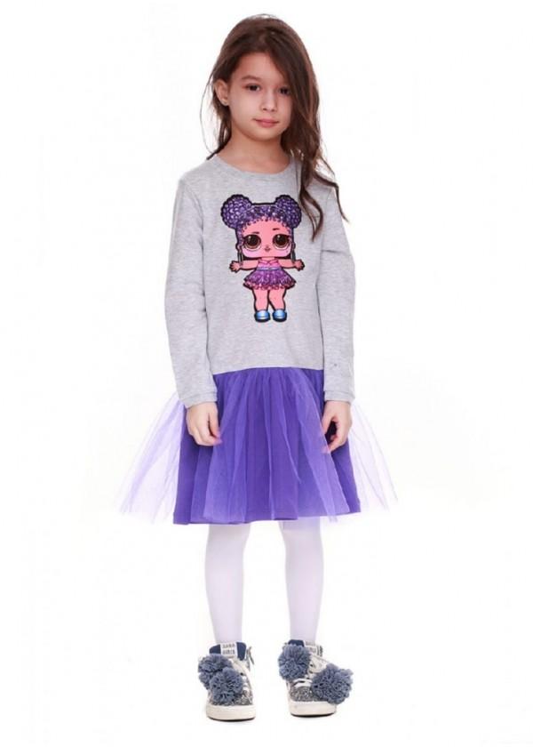 Сукня для дівчаток - G-19818W-1_серый с фиолетовым