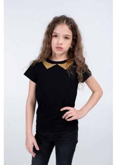 Футболка для девочек - G-20915S_черный+золото