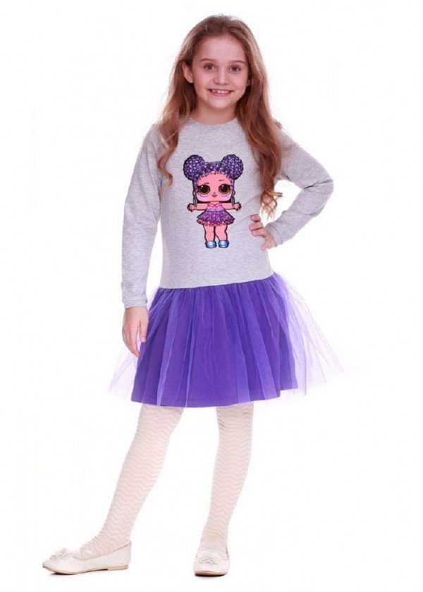 Сукня для дівчаток - G-19818W-2_серый с фиолетовым