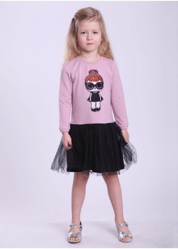Сукня для дівчаток - G-19819W-1_пудра с черным