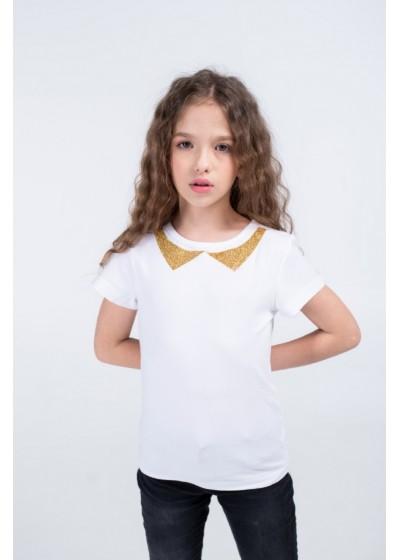 Футболка для девочек - G-20915S_белый+золото