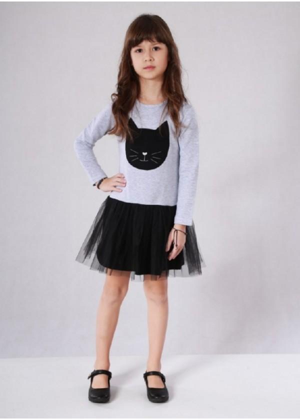 Платье для девочек - G-21871W_серый