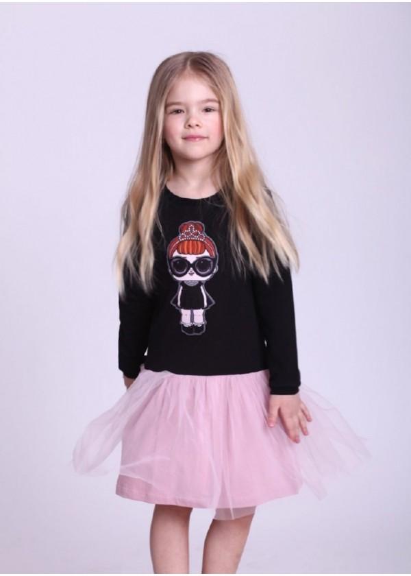 Платье для девочек - G-19819W-1_черный с пудрой